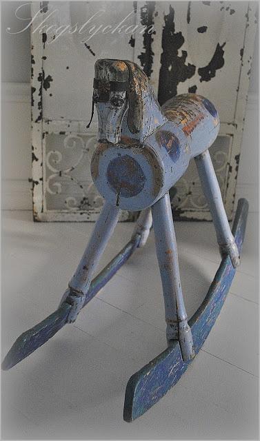 blue wood horse