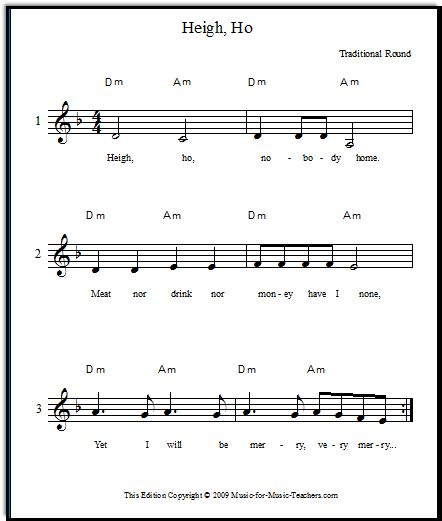"""Heigh Ho vocal round for beginning singers - also known as """"Hey Ho Nobody's Home"""" - download this fun and beautiful round, free!   (Have the kids rewrite the words for Halloween?)"""