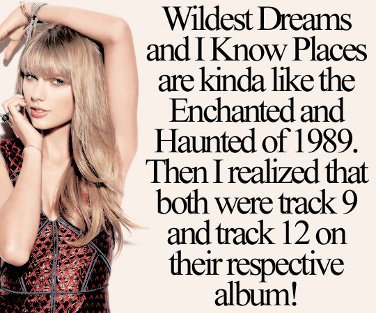 OMG THIS IS SO AMAZING I'M FREAKING OUT CUZ WILDEST DREAMS AND IKP ARE MY FAV ON 1989 AND ENCHANTED AND HAUNTED ARE MT FAV ON SPEAK NOW