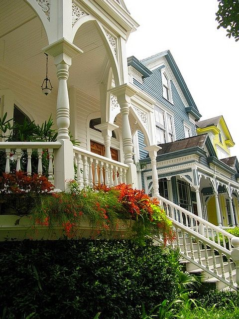 East Gaston Street Savannah GA Victorians. The White Victorian Was built in 1892 and the others were built in 1891