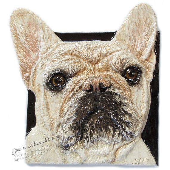 French Bulldog Ceramic Portrait Sculpture 3D Dog Art by alexart64, $74.99