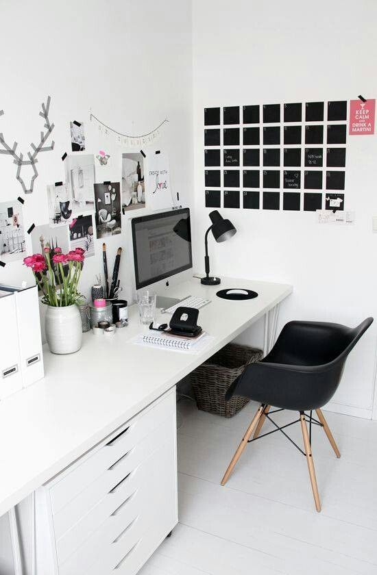 Black and white desk