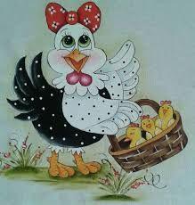Resultado de imagem para pinturas de galinha com rosto de frente