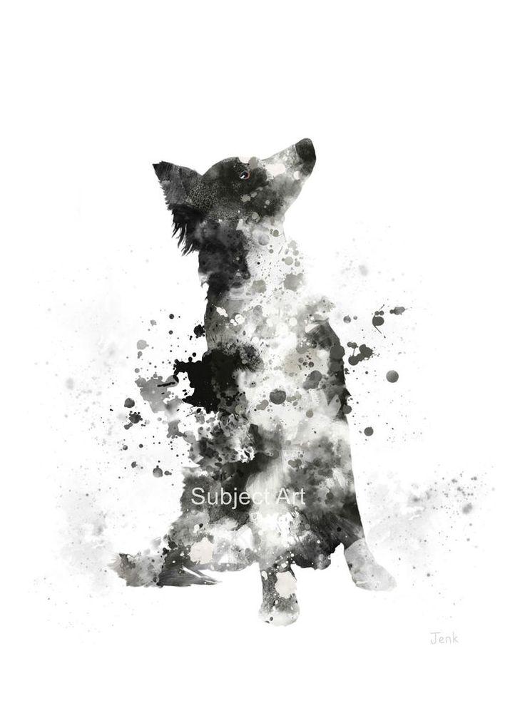 "ART PRINT Border Collie illustration 10 x 8"" Dog, Animal, Wall Art #Abstract"