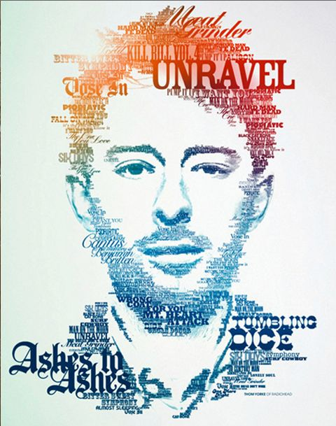 Neville Brody is an typographer, his design usually combine the words to become a illustration, like this design. It's very impressive that use typography to illustrate a portrait. The gorgeous part is the usage of color and light is very nature, which makes the portrait very realistic. Also every piece of word is different to another that can identify by the fonts usage and size, which means every word is unique on the design and specifically released on the portrait.
