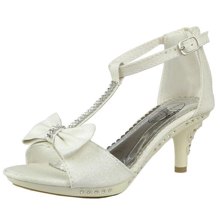 Kids Dress Sandals T-Strap Bow Accent Glitter High Heels White Generation Y