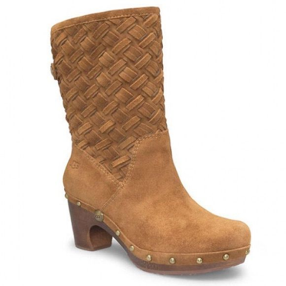 Ugg Lynnea Arroya Weave Foldover Clog Boot Gorgeous suede clog boots! Have gold buttons on each side and can be folded over or worn upright. Worn once and only sign of wear to heel! Fur lined!!! UGG Shoes Heeled Boots