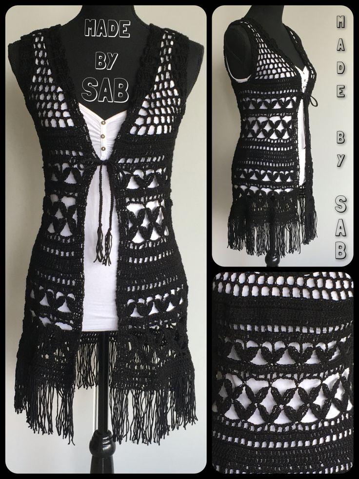 Summer Bliss vest - zwart Patroon: www.garnstudio.nl Garen: Lammy Rio met franjes van Lammy Victory Haken - Crochet - Summer