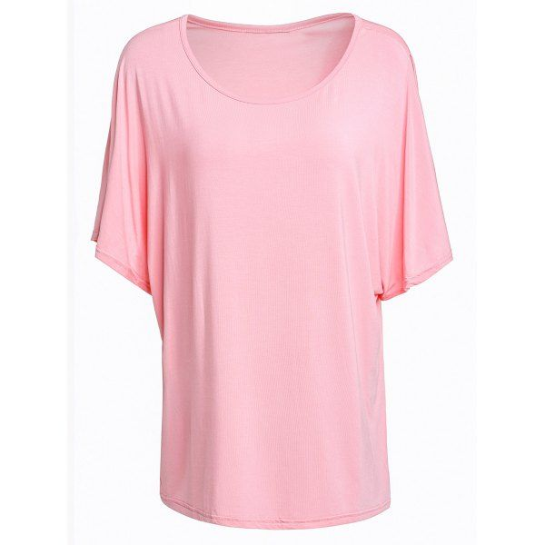 Trendy Batwing Sleeve Scoop Neck Loose-Fitting Solid Color Women's T-Shirt — 11.07 € Size: 2XL Color: LIGHT PINK