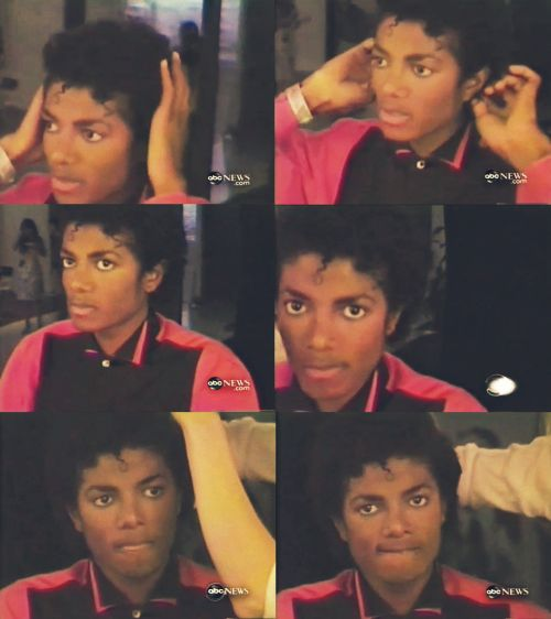 Michael Jackson getting ready for Thriller album photo shoot.