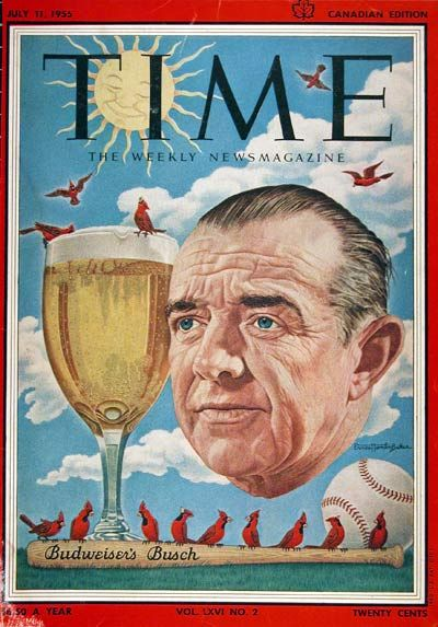 1955 original vintage Time magazine cover. Featuring the president of Anheuser Busch, August A. Busch Jr.