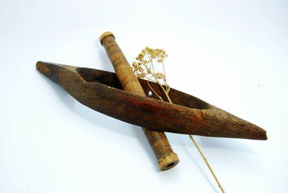 Vintage Wooden Weaving Flying Shuttle Weaving Tool, Farmhouse decor, Vintage Flying Shuttle tool, Rustic Home Decor