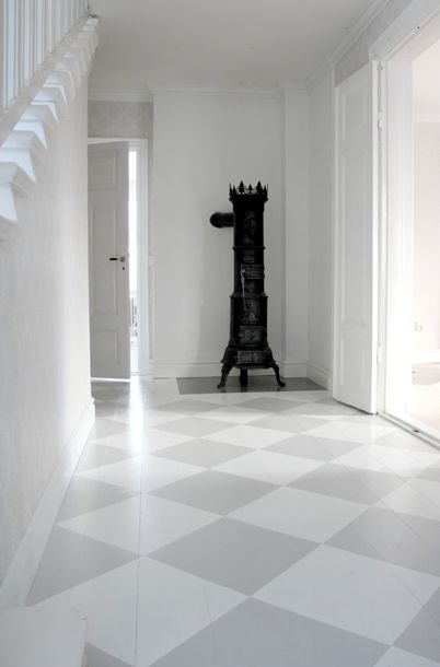 checked painted floor, grey white