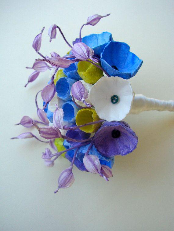 Matrimonio eco friendly bouquet da sposa ecologico di fiori di carta - Paper flowers Bouquet Wedding Bouquet by AlessandraFabre,