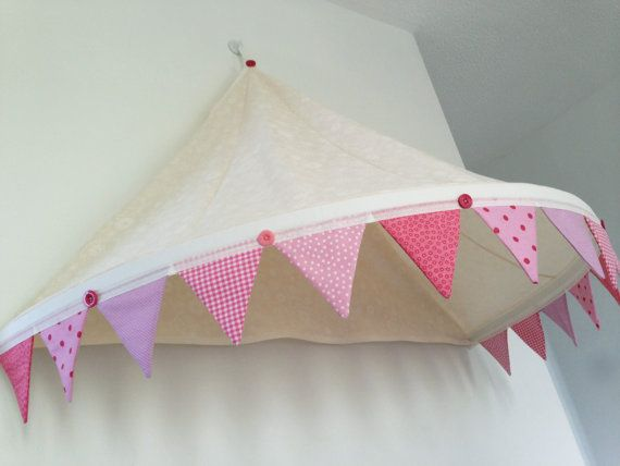 Single bed canopy with bunting trim, girls bedroom, playroom, reading nook, reading snug