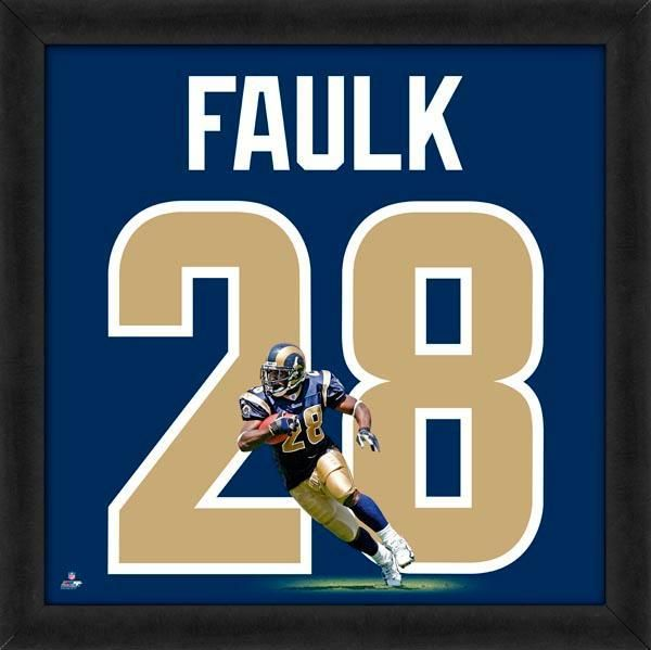 Marshall Faulk Framed St. Louis Rams 20x20 Jersey Photo - Sports Integrity