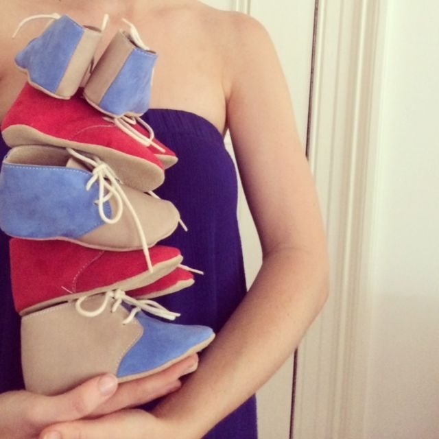 Kangaroo leather and suede handmade baby shoes