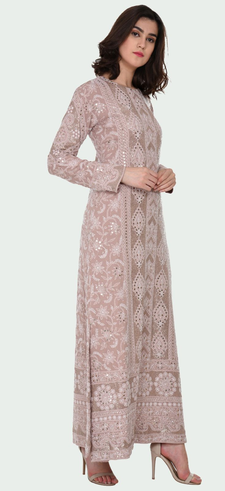 Hazelnut Chikankari And Kamdani Peshwa Floor Length Suit