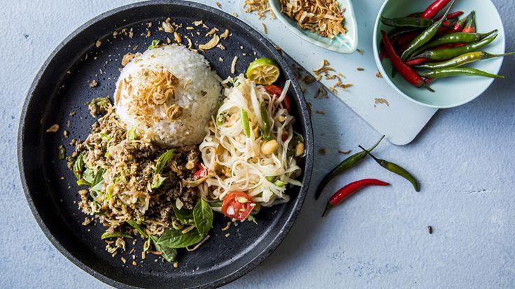 Larb: Salat med kjøttdeig og kokosris
