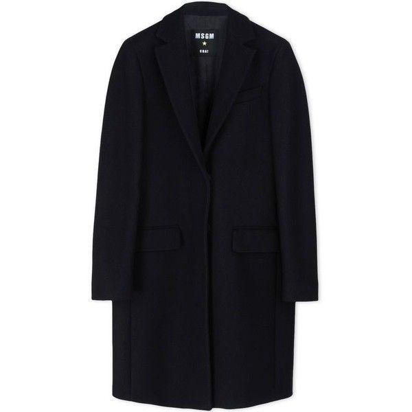 MSGM Wool-Blend Coat found on Polyvore featuring outerwear, coats, black, msgm, black cocoon coat, wool blend coat, cocoon coat and black coat