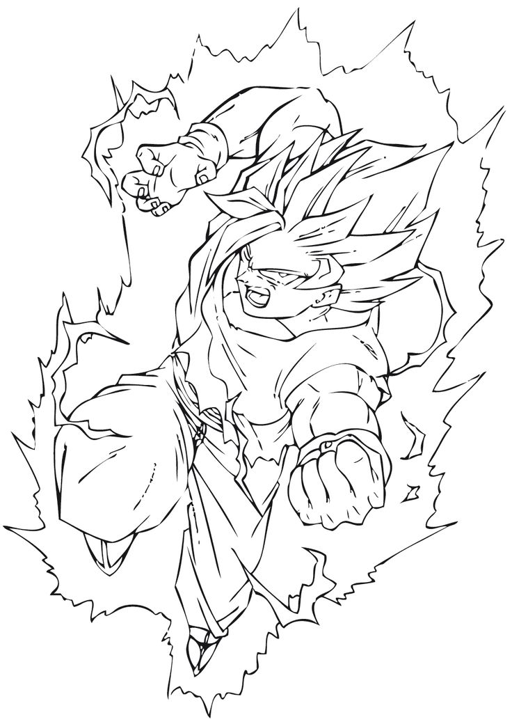 50 best super saiyan goku coloring pages images on Pinterest   Dragon ball z, Dragon dall z and ...