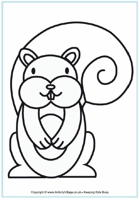 2013 2012 squirrel colouring page for younger children