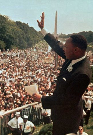 "In this Aug. 28, 1963 file photo, Dr. Martin Luther King Jr. acknowledges the crowd at the Lincoln Memorial for his ""I Have a Dream"" speech during the March on Washington. (AP Photo/File) Photo: Anonymous, STF / Beaumont"