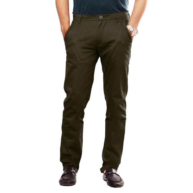 Mens Sleek Regular Fit Green Trouser  Uber Urban Mid Rise Regular Fit 100% Cotton Lycra Trouser for Men