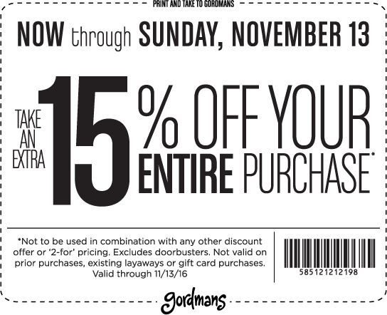 Pinned November 10th: Extra 15% off at #Gordmans #TheCouponsApp