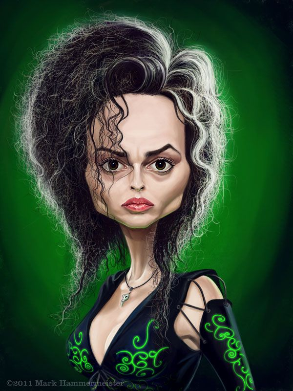 Here's a caricature of HELENA BONHAM CARTER made up as Bellatrix Lestrange from the Harry Potter movies.  It was created by Mark Hammermeister, better known as markdraws on DA.