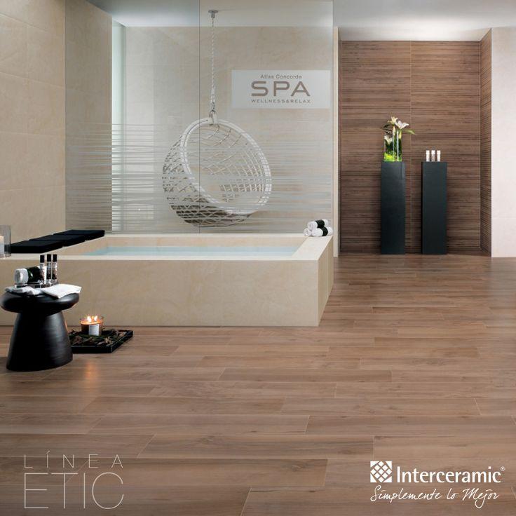Logra calidez y bienestar en el #spa, combinando #madera #cerámica con texturas lisas y blancas, decora con elementos naturales clave como plantas y velas aromáticas. Línea Etic de #Interceramic, piso ulivo/rect mate.