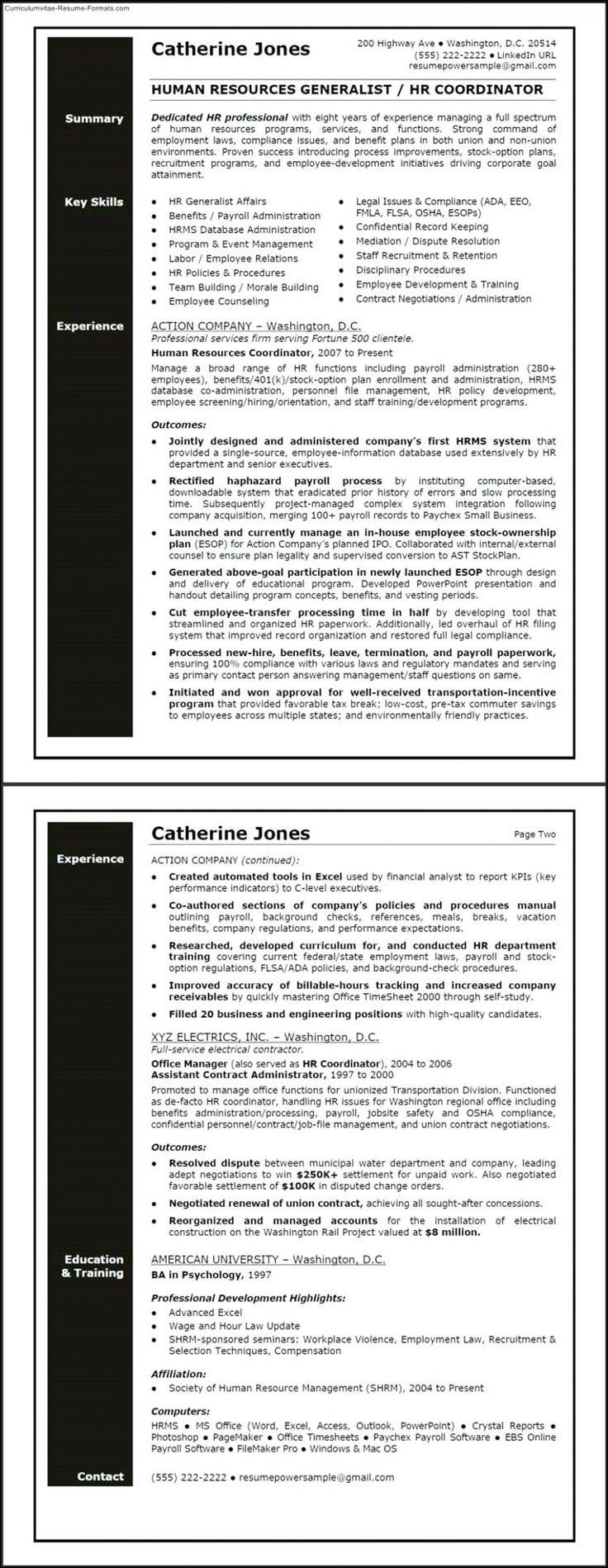 12 Pattern Hr Generalist Resume Human Resources Resume Job Resume Samples Human Resources Resume objective for human resources generalist