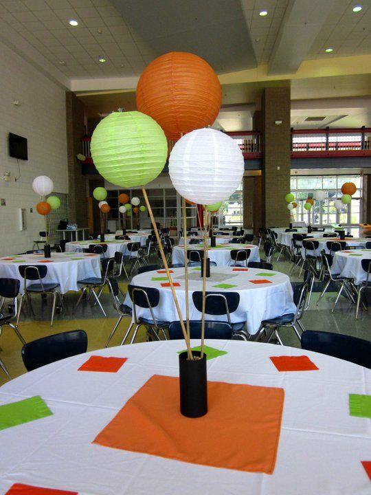 Paper lantern centerpieces :  wedding centerpiece paper lanterns diy non floral green orange white silver reception Lantern Diy Centerpiece