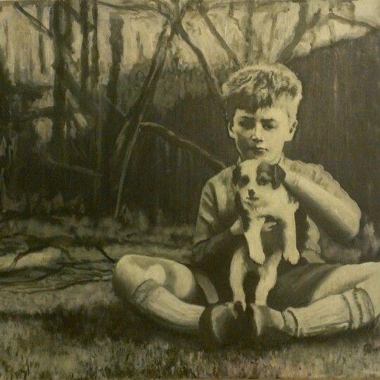 Boy John Lennon, acrylic painting