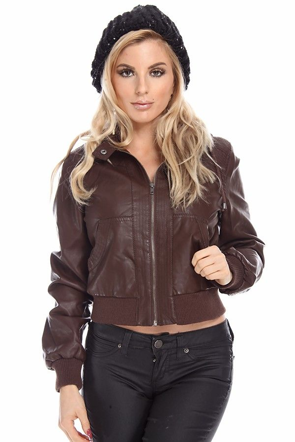 brown jacket#leather jackeT#cropped jacket#bomber jacket#moto ...