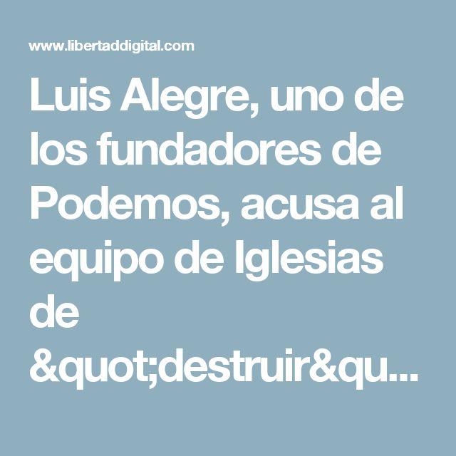 """Luis Alegre, uno de los fundadores de Podemos, acusa al equipo de Iglesias de """"destruir"""" el partido - Libertad Digital"""