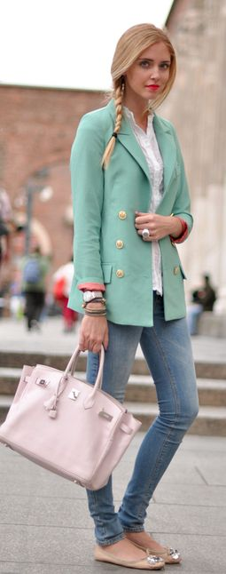 Turquoise pea coat, jeans & light pink bag