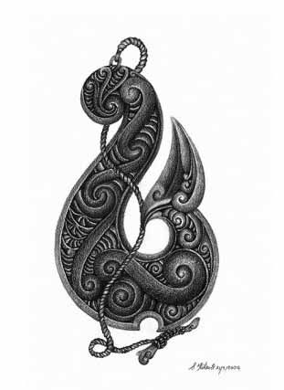 Manaia (head of  bird & human body & fish tail)  to symbolize the balance between heaven and earth.