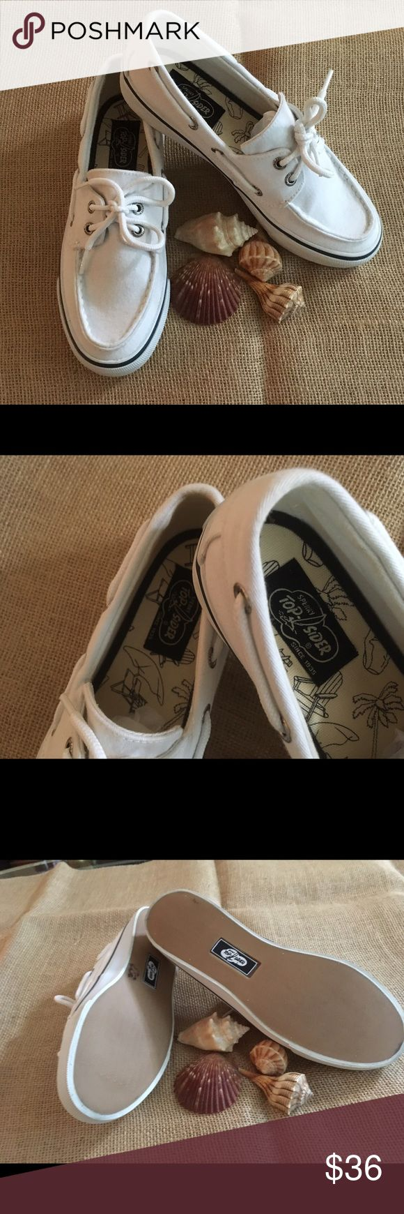 White SPEERY Top-Sider 7 Like new, super clean white Sperrys! Size 7 Sperry Top-Sider Shoes