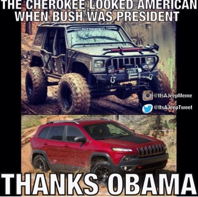 "Jeep Meme, New Cherokee, ""Thanks Obama."""
