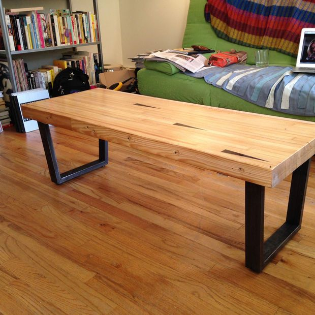 Picture of Coffee table from reclaimed bowling alley lane - for a non-woodworker living in tiny apartment