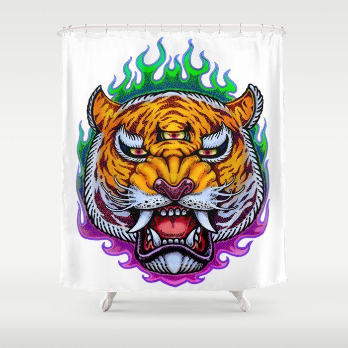 Third Eye Tiger Shower Curtainthird Eye Tiger Shower Curtain Stop