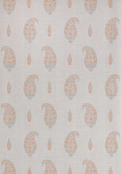 Maduri (T1050) - Thibaut Wallpapers - A paisley teardrop motif  design on a woven fabric look background, in soft grey with tangerine orange detail. This is an American wallcovering and will take between 7-10 working days for delivery. Wide width. Please request sample for true colour match.
