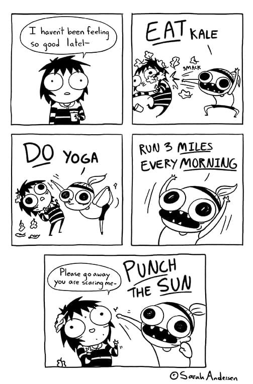 Sarah's Scribbles :: Do Yoga | Tapastic Comics - image 1 - nothing wrong with trying to be healthy, but this made me giggle.