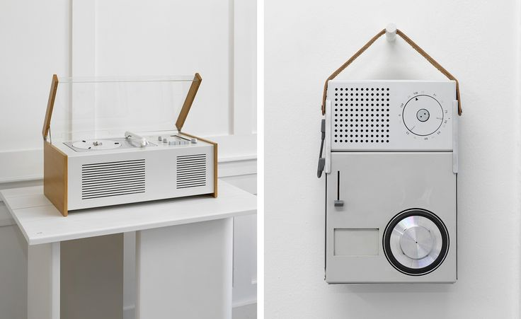 Left: 'SK 4 Phonosuper, combined audio system', by Hans Gugelot, with Otl Aicher, Wilhelm Wagenfeld and Dieter Rams, for Braun, 1956.   Right: 'TP 2, portable transistor radio and phonograph', by Dieter Rams, for Braun, 1959.