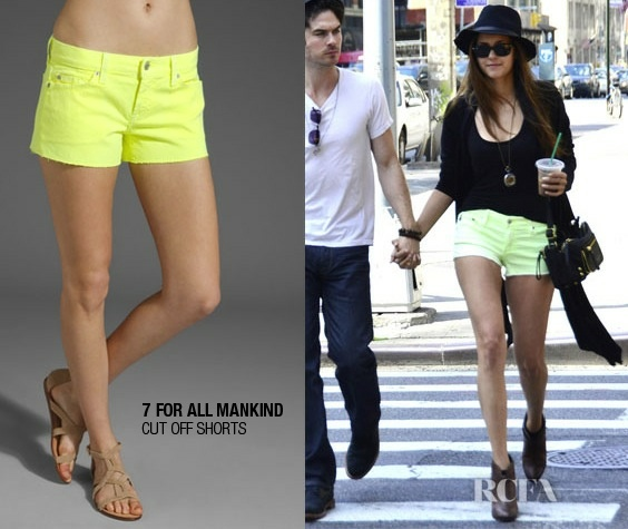 Nina Dobrev in 7 For All Mankind Cut Off Shorts.  GET YOURS: http://www.revolveclothing.com/DisplayProduct.jsp?product=SEVE-WN24=