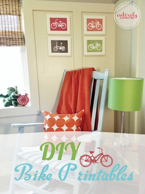 Darling bike printables!  Use all four for a darling arrangement.  I have to do this.  entirelyeventfulday.com #bike #kids