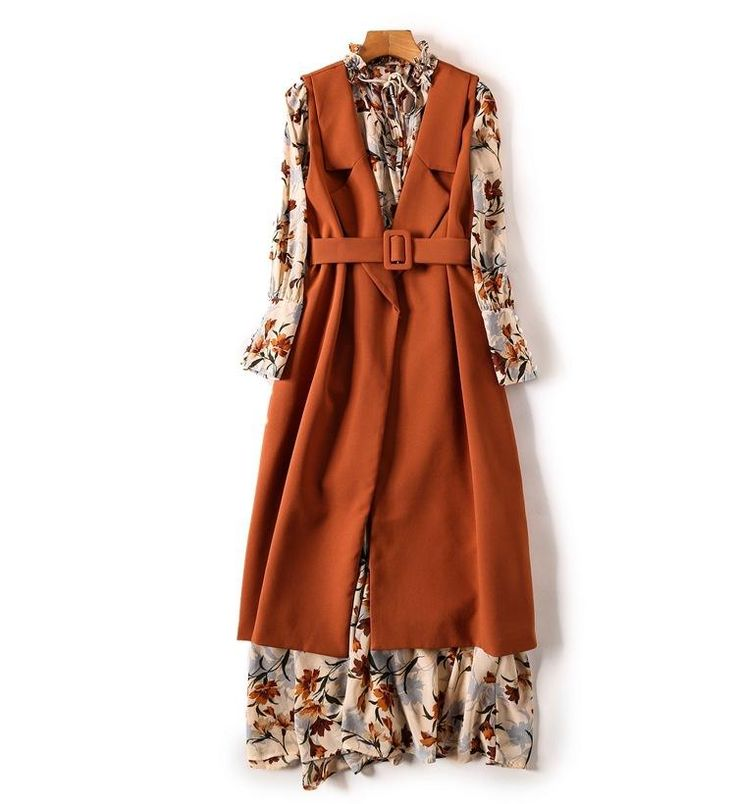 2 Piece- Autumn Floral Printed Dress