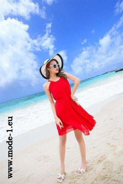 Chiffon Sommerkleid Kurz in Rot