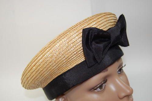 Vintage-Straw-Flat-Top-Ladies-Hat-with-Black-Ribbon-Trim-amp-Bow